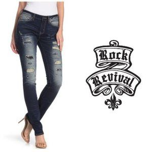 Rock Revival Distressed Mid Rise Distress Jeans 31